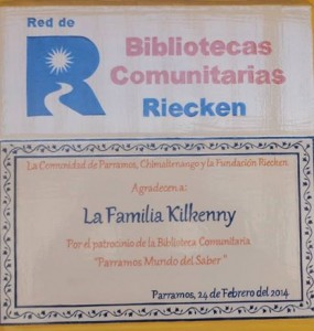 Plaque of appreciation to the Kilkenny family