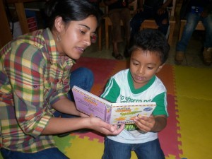 "The librarian training is essential to promote programs for new readers in communities. Riecken Community Library ""Windows open to future"", Chiché (Guatemala)"
